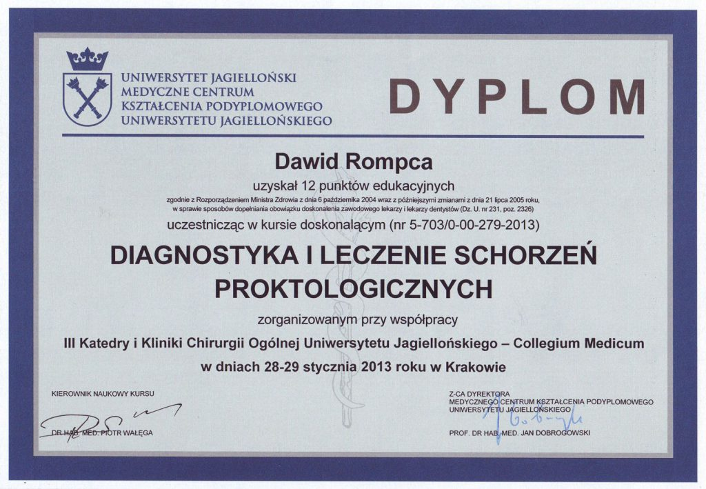 Dyplom proktologia