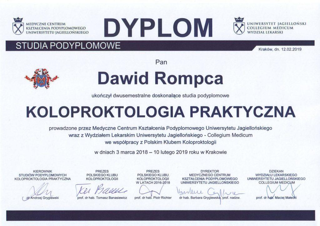 Dyplom studiów podyplomowych koloproktologia