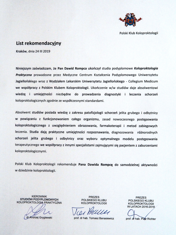 Chirurg Proktolog Nowy Sącz - List rekomendacyjny